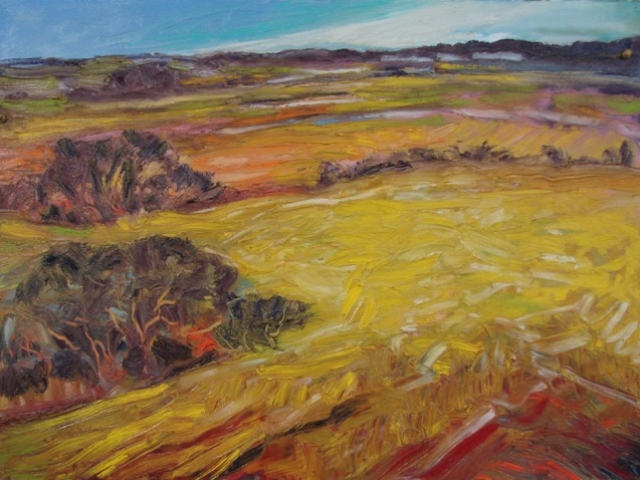 Sunny Fields  oil-prepared paper 22 in × 30 in 2015