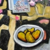 "(sold) Congo Clock and Pears 40"" x 30"" Oil (2009)"