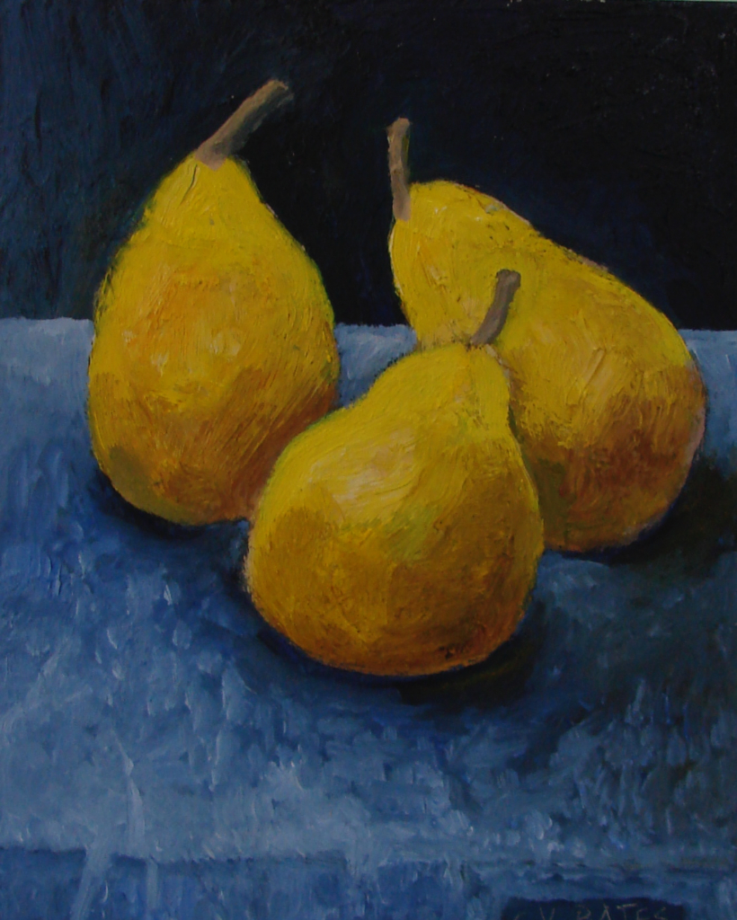 "(SOLD) Three Pears 9 X 7"" oil/panel 2011"