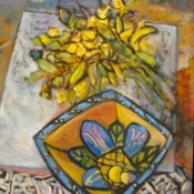 "(sold) Flowers & Blue Bowl 24X24""OIL2011"