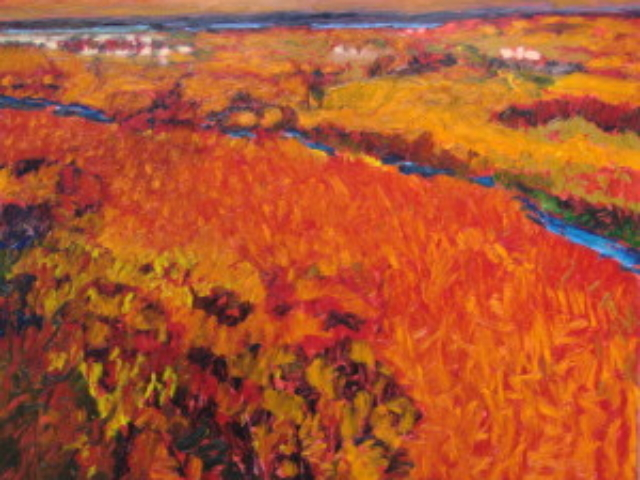SOLD Paysage Rouge 38 in x 48 in oil