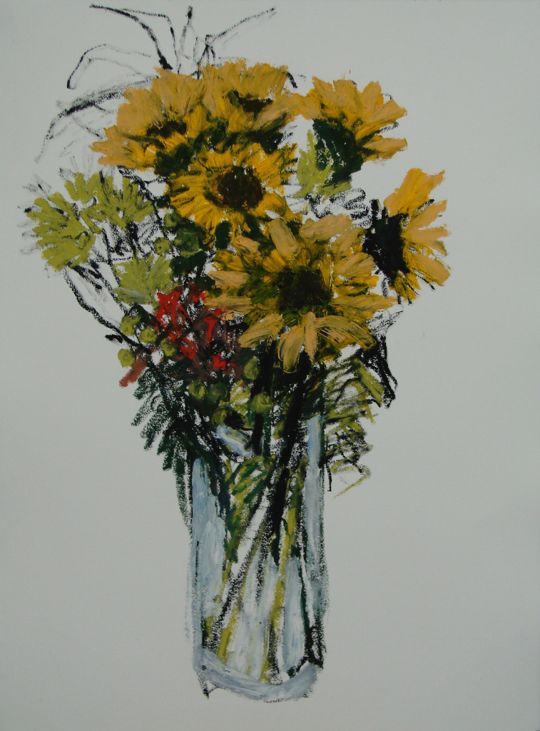 "Sunflowers 30c22"" Oil/Paper 2013"