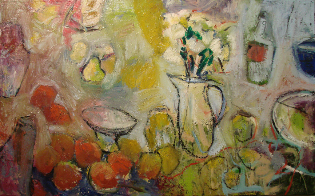 "THen Apples #5: with flowers 30x48"" Oil/Canvas 2014"