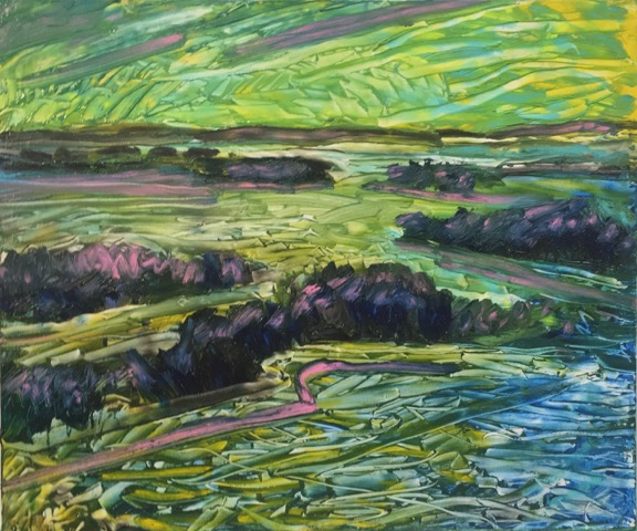 GB II Islands From Above 15in x 18in oil/panel 2016