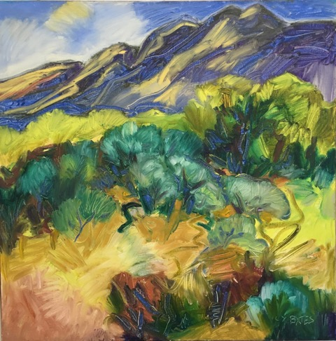"Sun on the Mountains 30x30"" oil/canvas 2015"