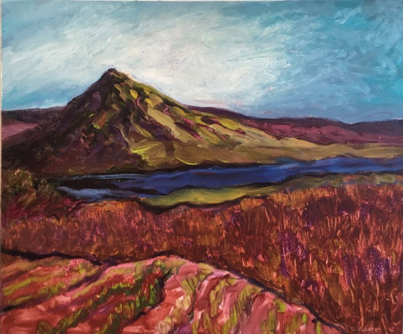 "Mountain, Lake, Fields 30x36"" oil/canvas 2017"